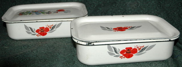 2  Enamel  Graniteware Ice Box Containers  -***PRICE REDUCTION!***
