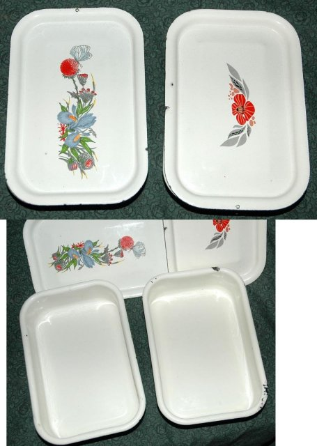 2  Enamel  Graniteware Ice Box Containers  -***PRICE REDUCTION!***