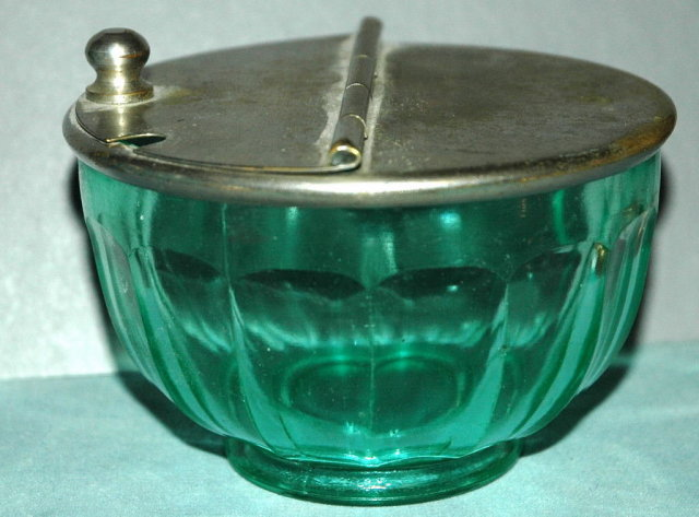 Paneled Green Glass Salt Container RARE  GLASS