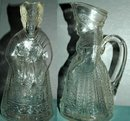 King & Queen Glass  Syrup Pitchers Dispensers  * PRICE REDUCDED * !