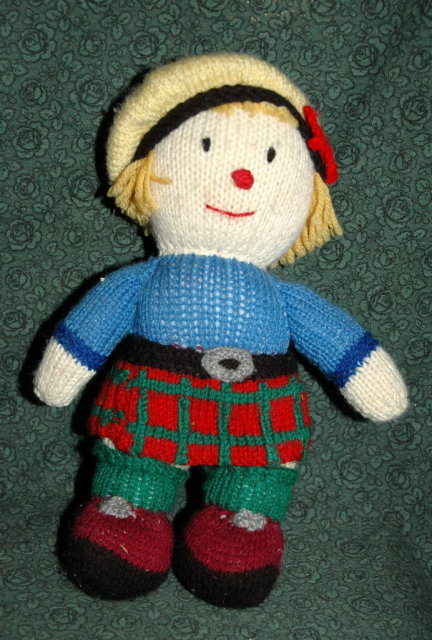 Hand Knitted  Scottish  Kilt Clad Doll  12