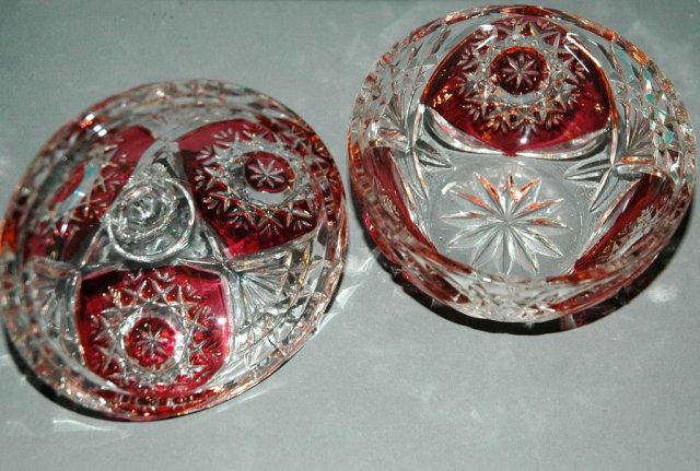 Ruby Flash Crystal Glass Lidded Bowl