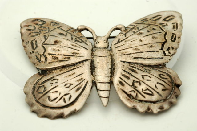 Large Sterling Butterfly Brooch Pin
