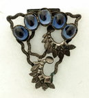 Silver Metal & Blue Glass Fur Clip
