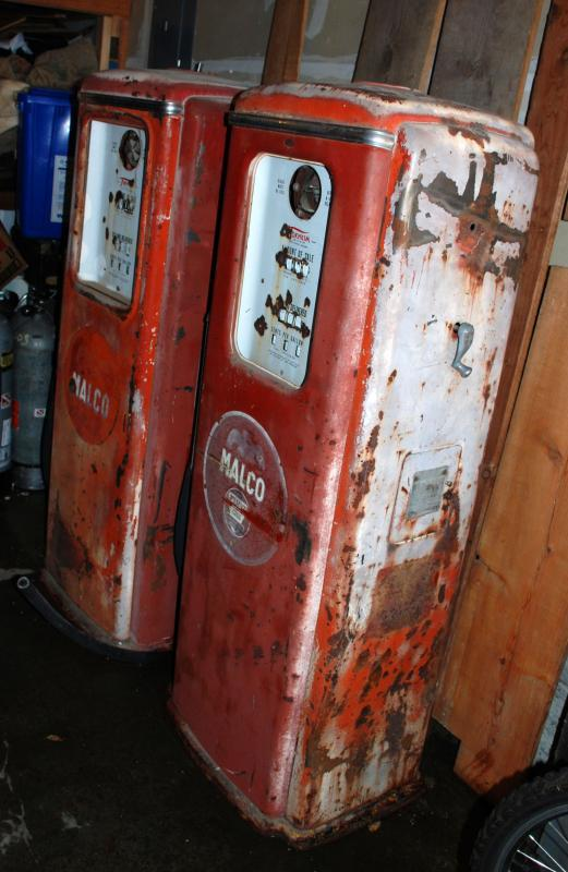 2 Malco Tokheim  Gas Pumps,  from New Mexico Vintage , Red