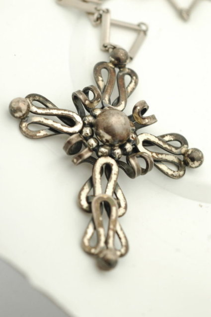 Old Ornate Napier Sterling  Cross on Chain RARE