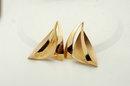 Large Vermeil Sterling Sailboat Earrings signed