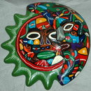 Mexican Talavera Sun Moon Face Mask Wall Plaque Folk Art