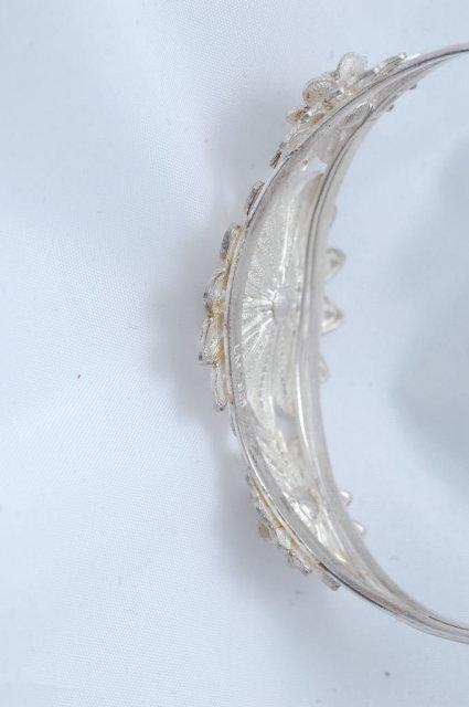 Sterling Silver Filigree Cuff Flower Bracelet
