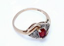 Yellow & White Gold Garnet Diamond Ring