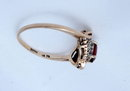 Yellow & White Gold Garnet Diamond Ring