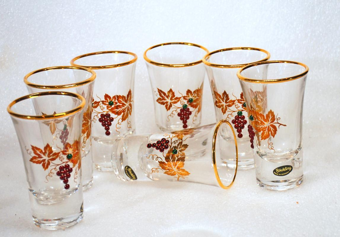 BOCKLING SHOT GLASS SET OF 7, GERMAN WITH SWAVROSKI CRYSTAL GRAPES & GOLD LEAF