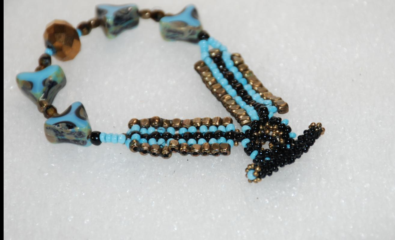 Sky Blue Woven Beaded Bracelet with Triangle Faceted Table Cut Triangle Beads and Faceted Bronze Bead / Hand Crafted one of a kind