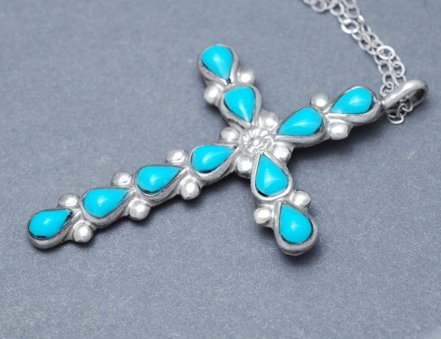 Turquoise & Sterling Silver Cross Necklace