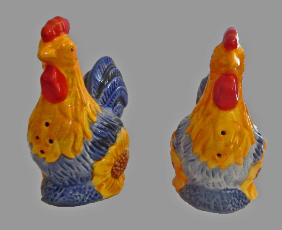 Rooster  Chicken Salt & Pepper Shakers Ceramic   Avon