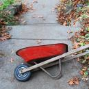 Vintage Child's Toy Red Wheelbarrow  Pressed Steel 1940's -50's