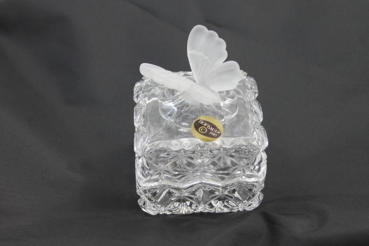 Hofbauer Butterfly Crystal Box 1985,  Frosted Butterfly on Cut Crystal Trinket Box Rare Item
