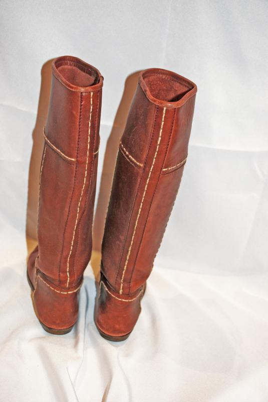 Tall Leather Boots, Boho Hipster   Handcrafted Unbranded with Stitching  Lady's size 42