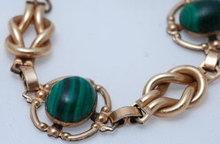 12K Gold Filled & Malachite Bracelet  VINTAGE