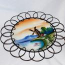 Hand Painted Porcelain Windmill Plate in Wire Frame, Japanese Export, Japan