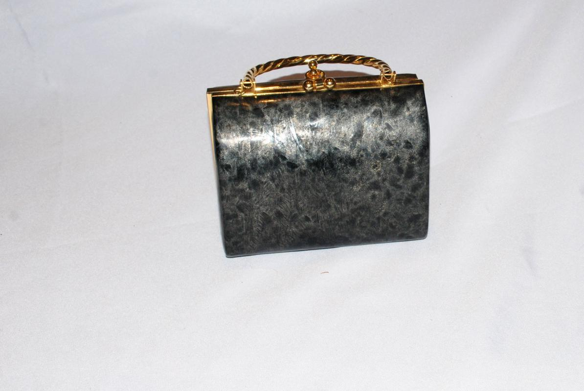 Clam Shell Style Purse Marbled Gray Black Vinyl   unbranded