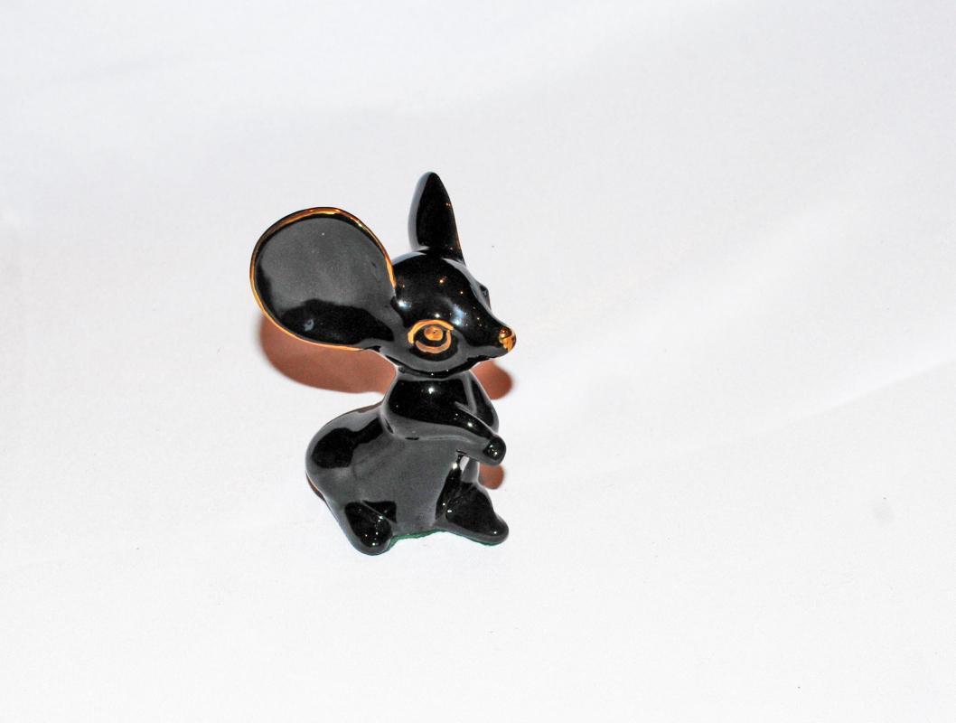 Vintage Big Ear Mouse Figurine, Black with Gold Trim