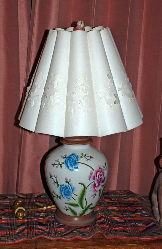 Asian Ginger Jar Peony Ceramic Lamp with Fancy Flower Shade & Porcelain Bird Finial.