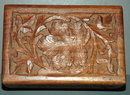 Carved Wood Maple Leaf Tramp Art  Trinket or Card Box