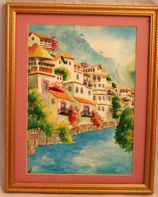 Water Color Painting of Mediterranean Scene*REDUCED PRICE*