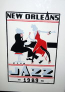 New Orleans Jazz 1989 Poster signed  Kuhre