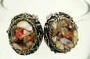 Mosaic Shell Clip On Earrings