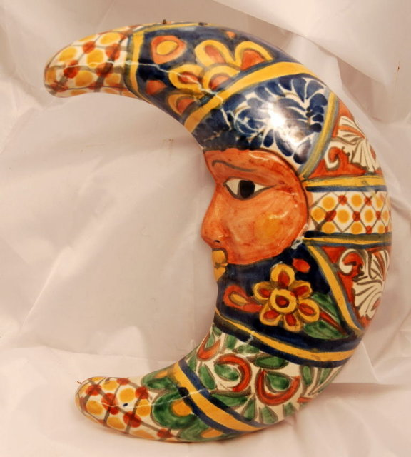 Mexican Talavera Pottery Moon -with face