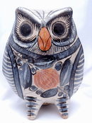 Old Tonala Pottery Owl signed Solis