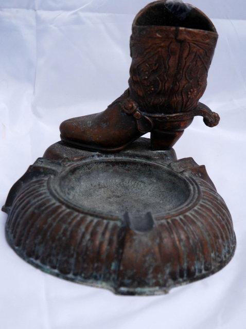Bronze Cowboy Boot Cigarette Holder & Ashtray  * PRICE REDUCTION*