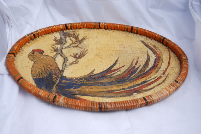 Old Painted Wicker Tray with Colorful Parrot