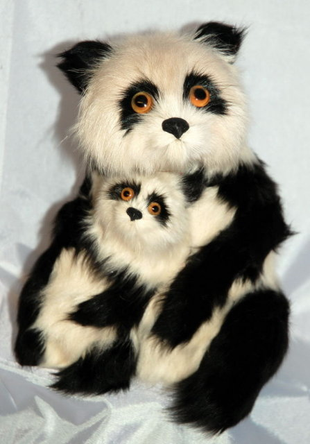 Mother Panda Bear with Baby of rabbit fur & Glass eyes