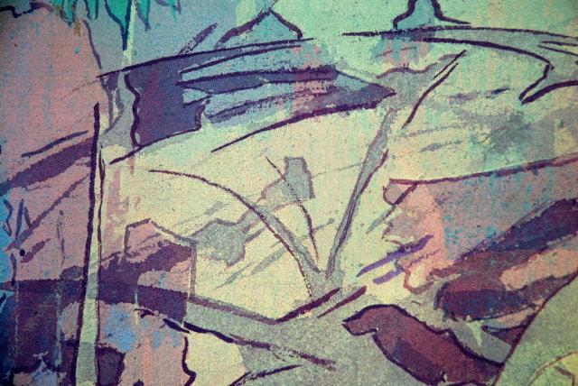 Daniel Lafontant Large Modernist Abstract Gouache on Canvas