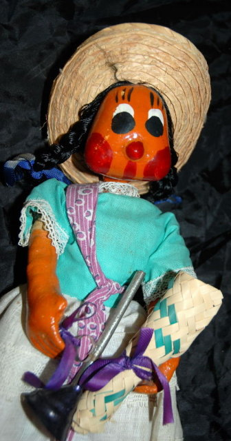 Old Mexican Folk Art Papier Mache Doll girl with horn