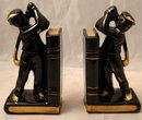 Golfer Bookends Black Gold Japan Redware