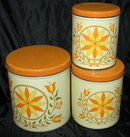 Decoware  3 pc Tin  Kitchen Canisters RETRO *Price Reduced!*