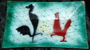 Brower Enamel on Copper Rooster Tray - Vintage art