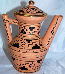 Signed Oxxaca Mexican Glazed Pottery  Coffee or Tea pot