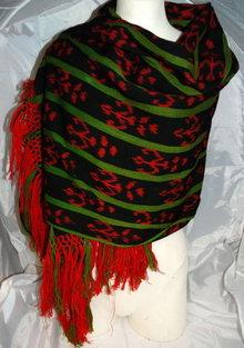 Vintage Guatemalan  Ikat Shawl Wrap or Shawl Hand Woven Wool  RARE Vintage