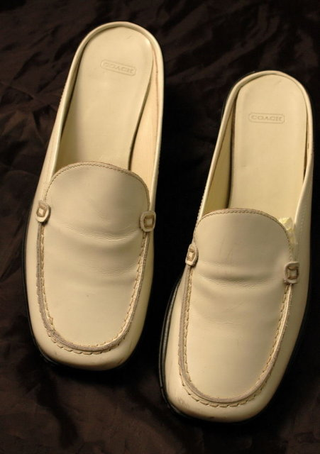 Coach White Leather Loafer Mules/Slides 6.5 *Price Reduced!*
