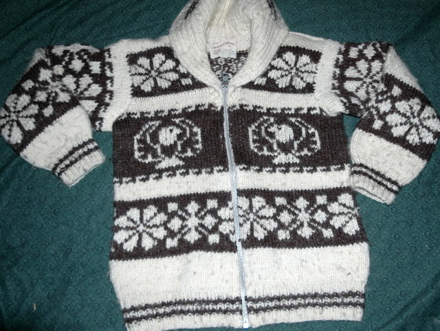 Genuine Canadian Cowichan Indian   Sweater 100% Hand Spun Wool  with Registration number