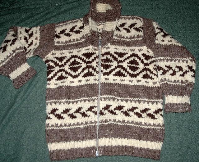 Genuine Canadian Cowichan  Sweater 100% Hand Spun Wool