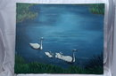 Swan Oil Painting on  LARGE  Canvas Signed  V. Ellingsworth