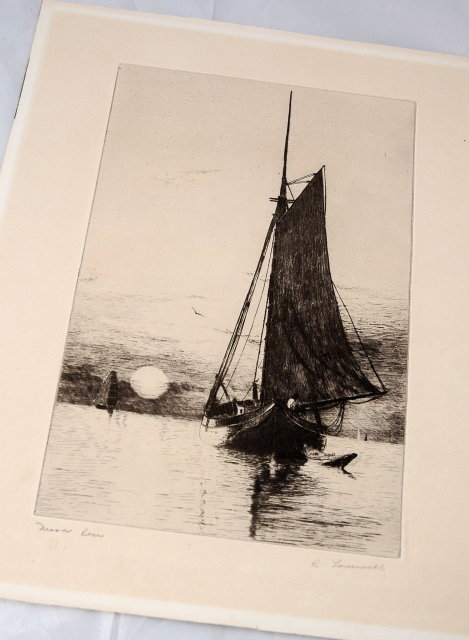 Black White Steel Engraving Moon Rise , signed