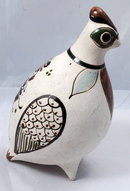 Mexican Pottery Stoneware Quail  with enameling
