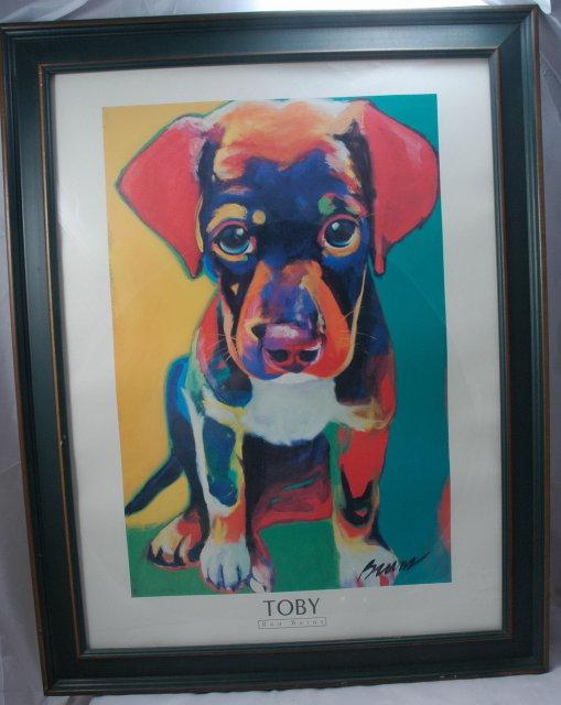 Toby art print  byRon Burns Framed behind glass